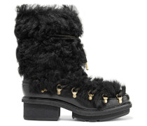 Mallory Shearling And Glossed-leather Boots Schwarz