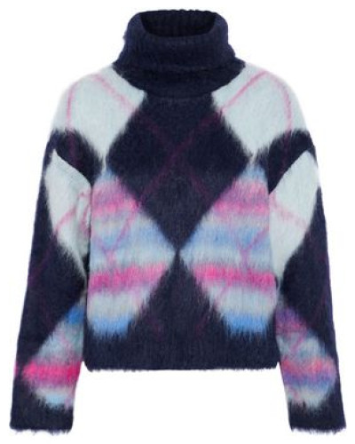 Brushed Checked Knitted Turtleneck Sweater Multicolor