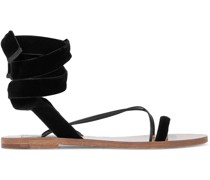 Lace-up Leather-trimmed Velvet Sandals