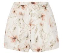 Floral-print Silk-organza Shorts Elfenbein