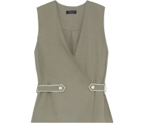 Tabitha Button-detailed Textured-twill Top