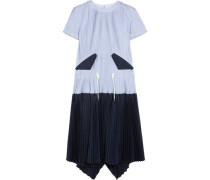 Striped plissé cotton-poplin dress