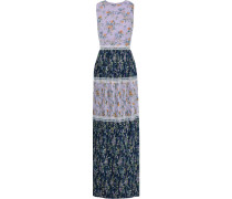 Pleated Floral-print Chiffon Maxi Dress