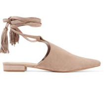 Cheeky lace-up suede point-toe flats