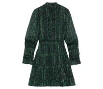Tezza Gerafftes Minikleid aus Chiffon mit Streifen und Blumenprint