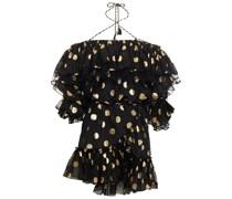 Cold-shoulder Ruffled Metallic Fil Coupé Silk-blend Mini Dress