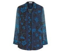 Darcy Floral-print Silk-chiffon Blouse Navy