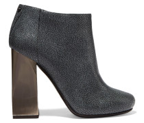 Textured-leather Ankle Boots Grau