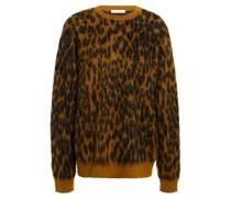Pullover aus Jacquard aus Einer Gebürsteten Mohairmischung mit Leopardenmuster