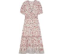 Zaria Gathered Printed Cotton-jacquard Midi Dress