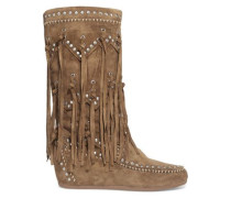 Shilo fringed studded suede wedge knee boots