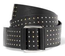 Knot Studded Leather Belt Schwarz