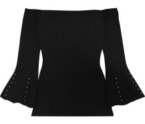 Woman Off-the-shoulder Faux Pearl-embellished Wool-crepe Top Black