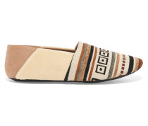 Jacks Paneled Embroidered Canvas Slippers Neutral