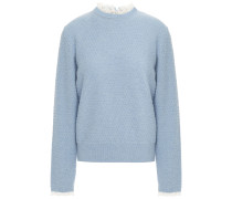 Lace-trimmed Textured Wool-blend Sweater