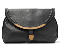 Lizzie Textured-leather Fold-over Clutch Schwarz