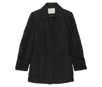 Paneled Guipure Lace And Cotton-twill Coat Schwarz