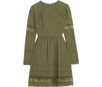 Janae lace-trimmed silk crepe de chine mini dress