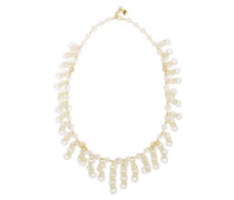 Woman Gold-tone Beaded Necklace Gold