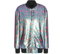Appliquéd Sequined Tulle Bomber Jacket