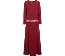 Embellished Crepe Maxi Dress Bordeaux