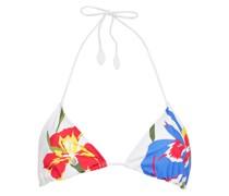 Iris Floral-print Triangle Bikini Top