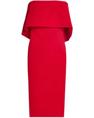 Strapless Layered Crepe Dress Red
