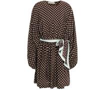 Belted Polka-dot Silk Crepe De Chine Mini Dress