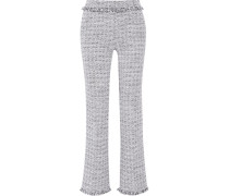 Cotton-blend Tweed Wide-leg Pants Grau