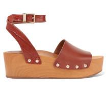 Brynn Leather Wedge Sandals Braun