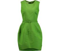 Belted Silk-faille Mini Dress Grasgrün