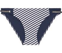 Sun Dappled Decadence Tief Sitzendes Bikini-höschen mit Streifen und Verzierung