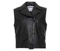 Belted Embellished Leather Vest