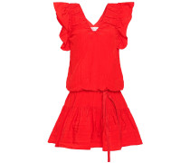 Belted Ruffled Taffeta Mini Dress