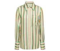 Grosgrain-trimmed Striped Satin Shirt