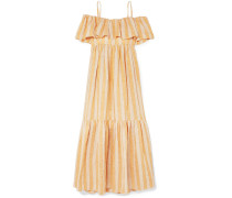 Ida Off-the-shoulder Tiered Metallic Striped Linen-blend Dress