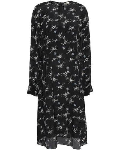 Floral-print Crepe De Chine Dress Black