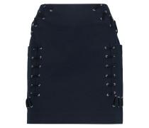 Lace-up Stretch-twill Cotton-blend Mini Skirt Mitternachtsblau