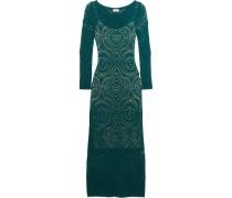 Raya Open-knit Maxi Dress Smaragdgrün