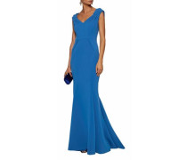 Pleated bonded crepe gown