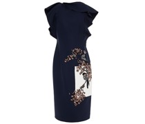 Embellished Embroidered Wool-blend Crepe Dress