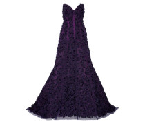 Embellished Floral-appliquéd Tulle And Silk-organza Strapless Gown Violett