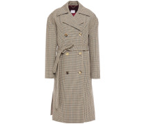 Hammond Double-breasted Belted Houndstooth Wool Coat