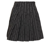 Wrap-effect Pinstriped Floral-jacquard Mini Skirt