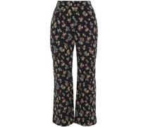 Hose mit Geradem Bein aus Floralem Jacquard aus Einer Baumwollmischung