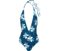Hinano floral-print halterneck swimsuit