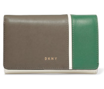 Color-block Leather Wallet Creme