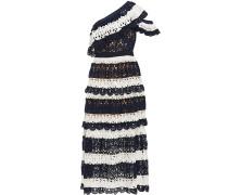 One-shoulder Striped Crocheted Midi Dress