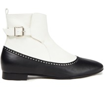 Canada Two-tone Perforated Leather Ankle Boots
