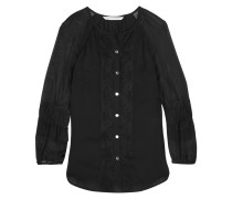 Lace Embroidered Silk Blouse Schwarz